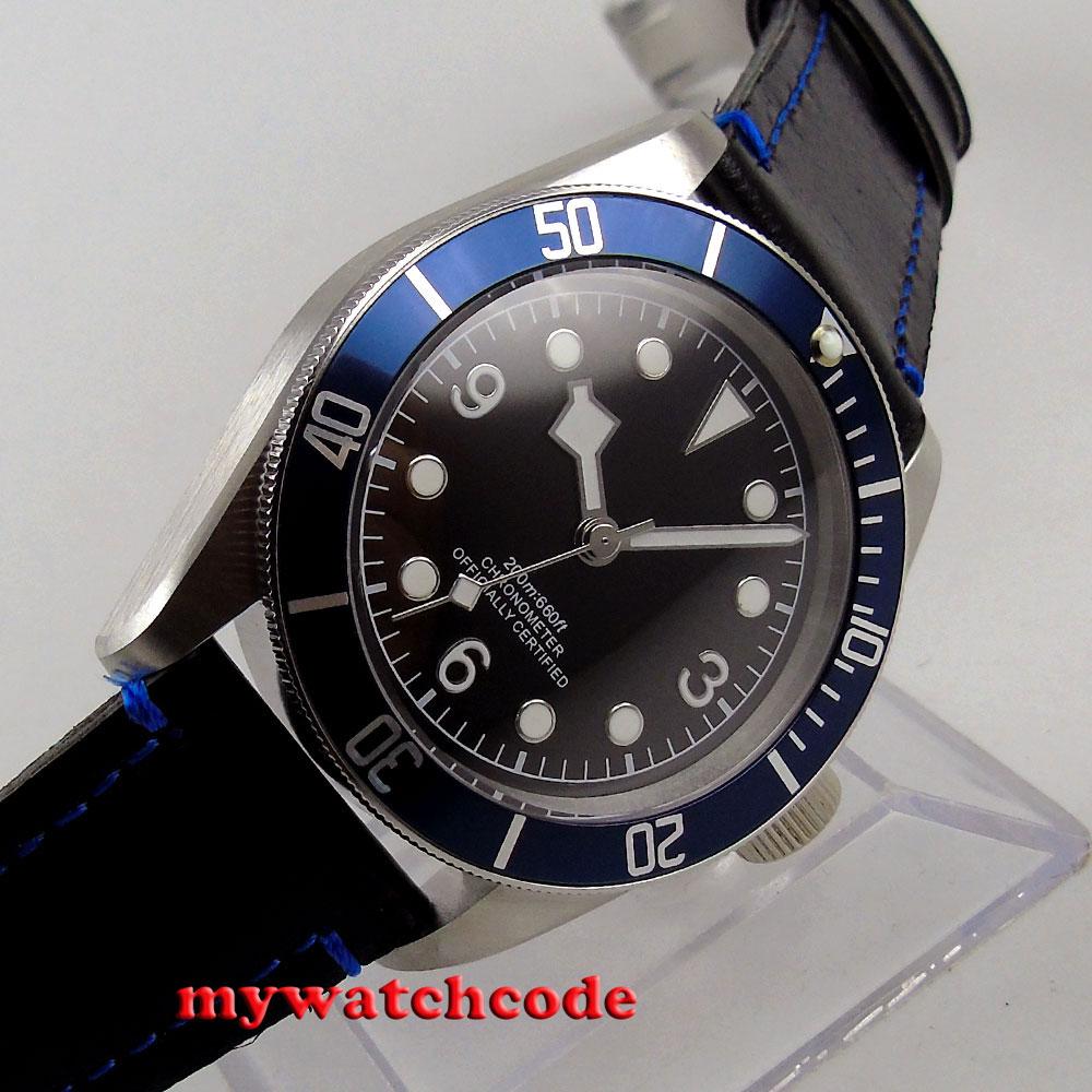 41mm corgeut black sterile dial blue bezel no date Sapphire automatic mens Watch