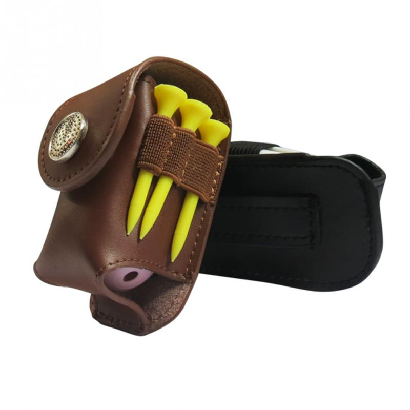Portable Golf Ball Holder Waist Pouch Bag Leather Cool Golf Tee Bag Sports Accessory