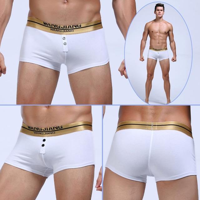 Homens marca boxers underwear baixo waiast botão boxers homens sexy pênis bolsa de algodão mens boxers grife de underwear 2017