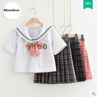 Adult School Uniform Soft Cotton Shirt Plaid Skirt School Uniform Sets OY X0704