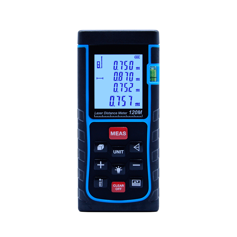 SW-E120 Digital Laser distance meter 120m 400ft Bubble level Tape measure Area/volume tool Rangefinder Range finder free delivery level 24 in lightweight hard plastic 3 bubble triple ruler measure tool