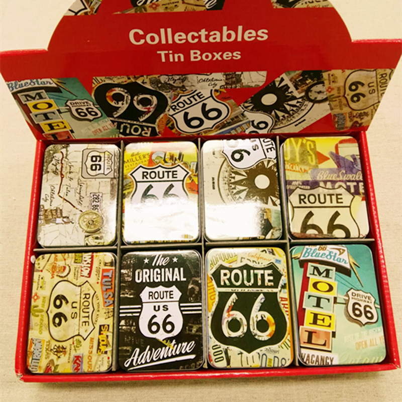 Free Shipping!New Arrival 16pcs/lot Vintage Style ROUTE 66 Metal Storage Box Card Box 8 mixed Designs Candy Box Shop Decor