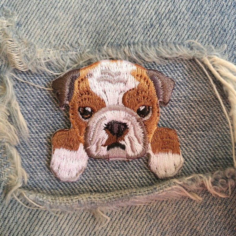 1 PIC 4.0*4.0CM Children's Clothes Schoolbags Decoration Cartoon BULLDOG Characters Computer Embroidery Patches Embroidered