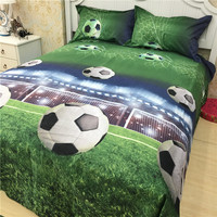 3D Football 4PCS Bedding Set King Size Spring Bed Sheet Set 1pcs Quilt 1pcs Sheet Pillow