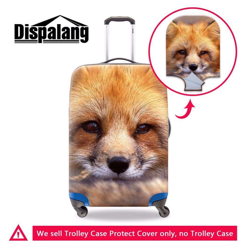 Dispalang Luggage Cover Fox Print For 18-30 Inch Suicase Cover Cute Luggage Protector Thick Luggage Bag Cover Travel Accessories
