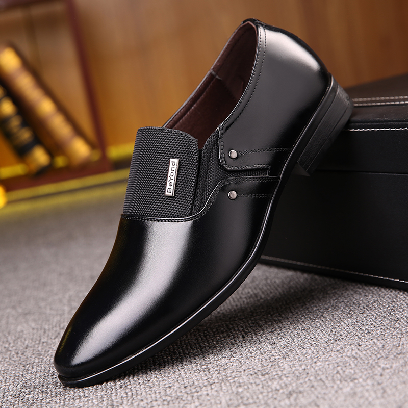 OSCO 2018 black brown men leather shoes mens pointed toe dress shoes high quality formal slip