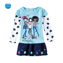 JUXINSU Toddler Girls Cotton Long Sleeve Dresses Three Stylish Little Cartoon Autumn Winter Girl Casual Dress for 1-5 Year