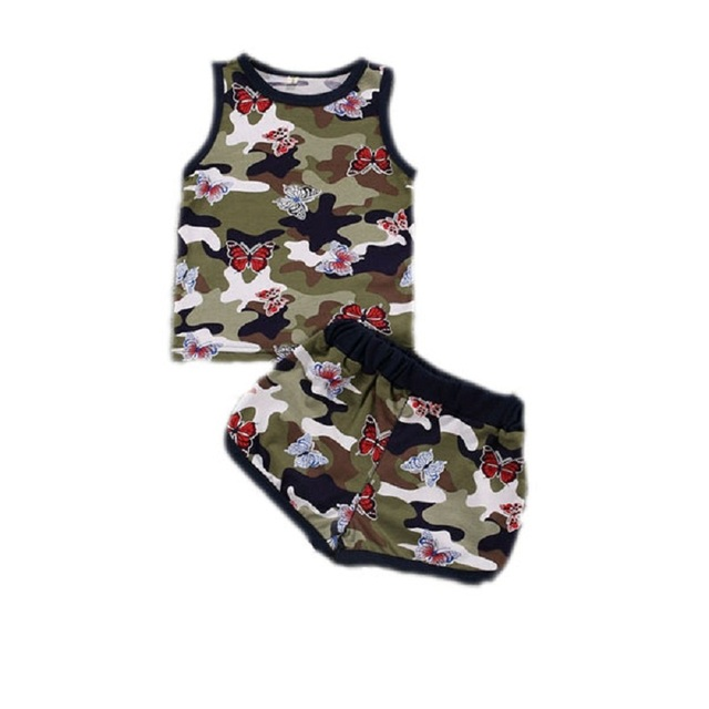 291b00bb5d2d 2016 Summer Cotton Casual Sleeveless Camouflage Butterfly Print Children  Boys&Girls Clothing Sets Kids 2pcs Baby Shorts