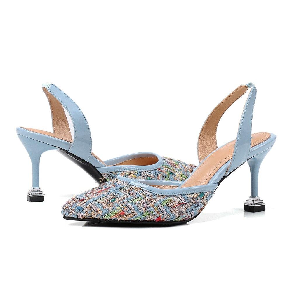 Grande Mariage Élégant 2018 Chaussures Sandales L'intérieur bleu pink Taille Bout De À Véritable Femmes Femme Hauts Pointu Noir Mode Nouvelle Talons Asumer D'été CUq7Sw
