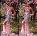New Arrival 2015 Frete Grátis Luxo Cristal Vestidos Bainha Querida Elegante Longo Prom Vestidos Chiffon Frisada Vestidos de Noite