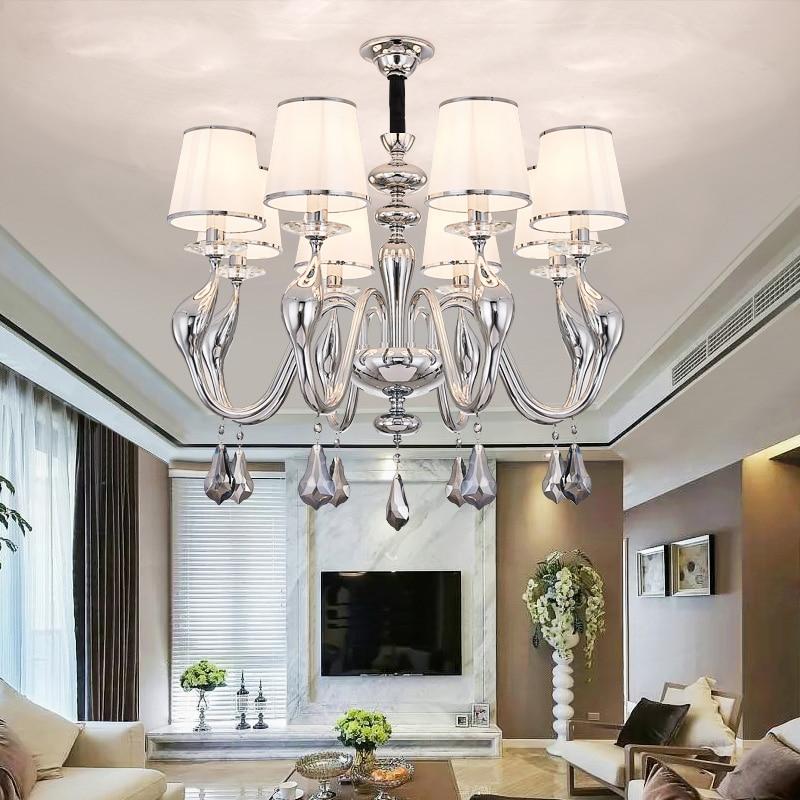 Modern Swan Led Chandeliers Lighting Living Room Chrome Metal Led Pendant Chandelier Lights Hanging Lamp Fixture For Dining Room