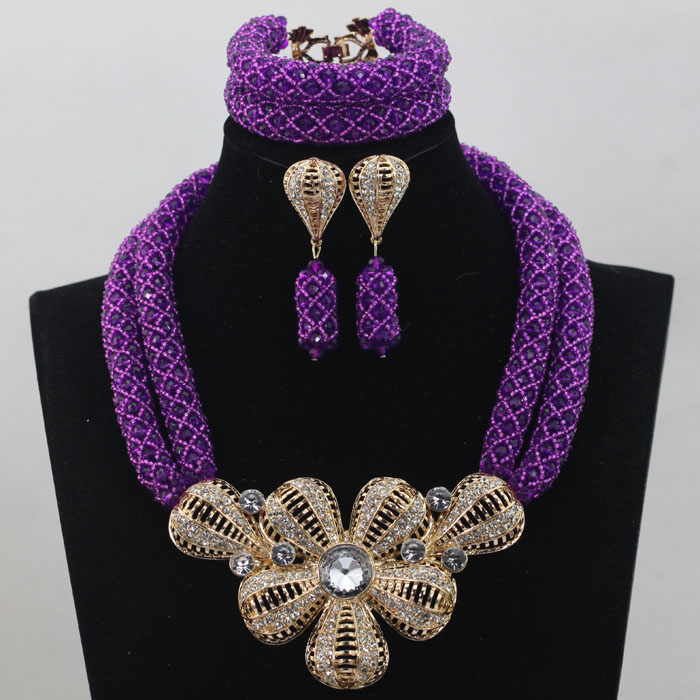 Exclusive Purple African Jewelry Sets Big Flower Pendant Neklace Fashion Earrings Set for Wedding Gift Free Shipping WD224