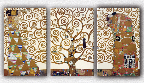 3 Pcs Gustav Klimt Tree Of Life Living Room Mural For Home