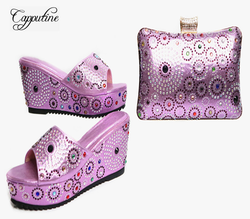 Capputine Latest Style African Rhinestone Shoes And Bag Set New Italian High Heels Shoes And Matching Bag Set For Party G23 capputine new italian woman pu leather shoes and shopping big bag set african fashion high heels shoes and bag set for party