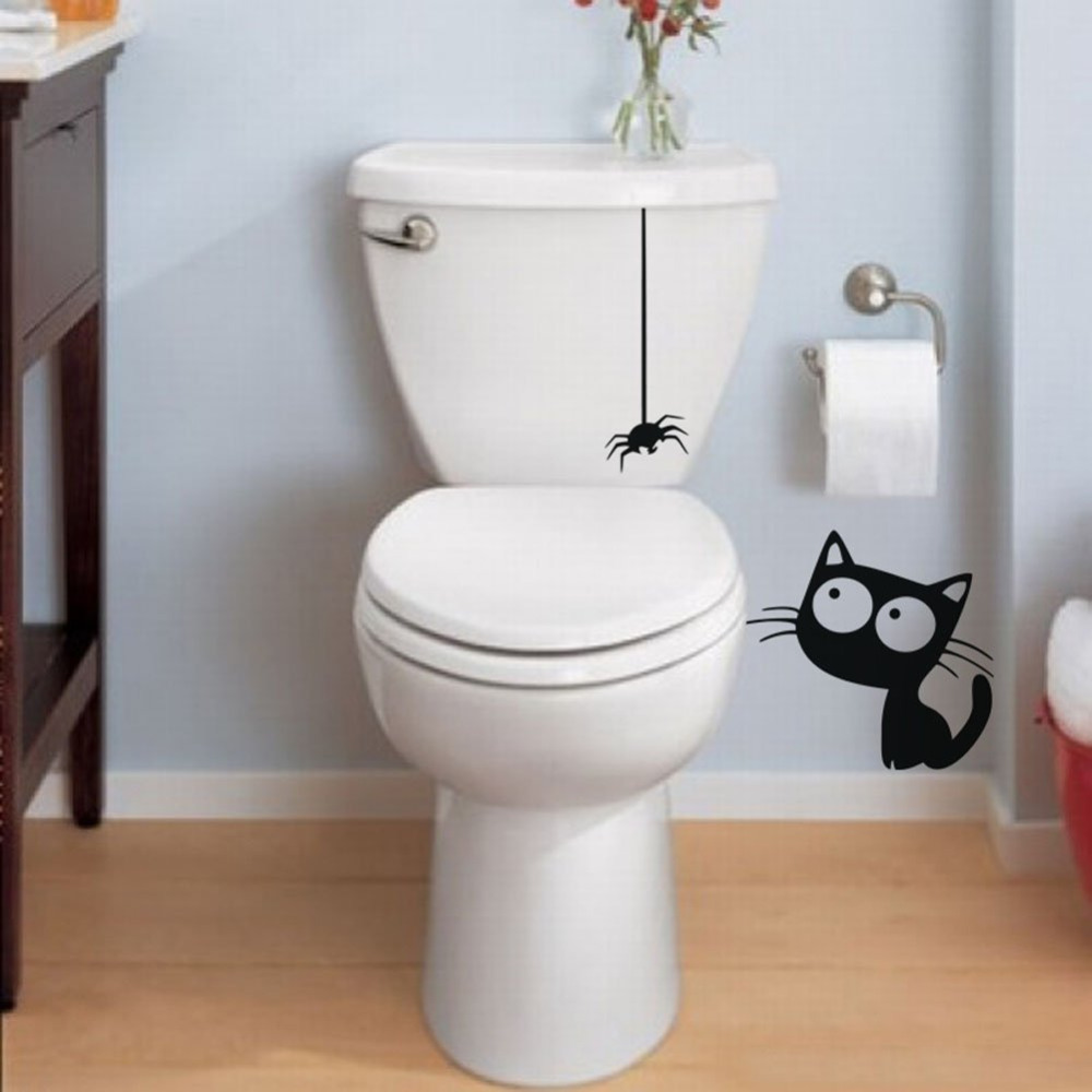 Funny Toilet Decal Black Hanging Spider And Cat Bathroom Stickers ...