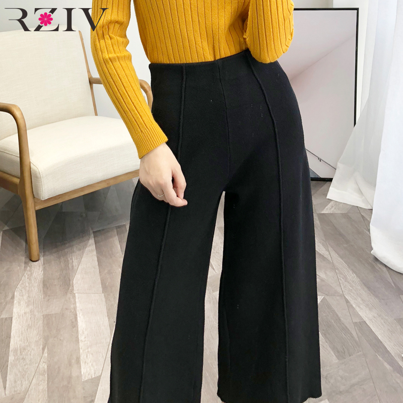 RZIV Autumn Women's   Pants   Casual Solid Color Knit   Wide     Leg     Pants