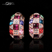 Exaggerated Crystal Stud Earrings Wholesale Rose Gold Color Crystal Fashion Jewelry For Women brinco DFE065