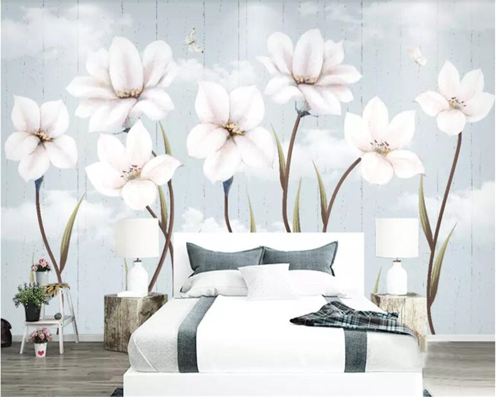 beibehang Custom size Modern minimalist small fresh garden hand-painted flowers Nordic background wall decoration painting