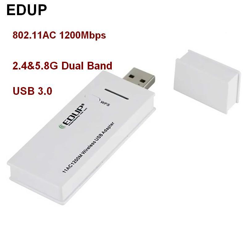 EDUP 802.11AC 1200Mbps 2,4 G & 5,8 GHz Dual Band USB 3.0-netwerk draadloze kaart Hoge snelheid Dual-Frequency wifi-adapter WPS-knop
