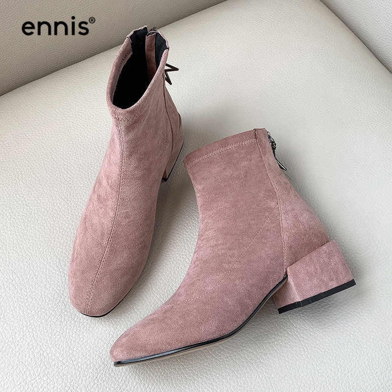 ENNIS 2019 Autumn Flock Womens Boots Ankle Suede Stretch Boots Square Heel Round Toe Ladies Boots Fashion Pink Black Shoes A960