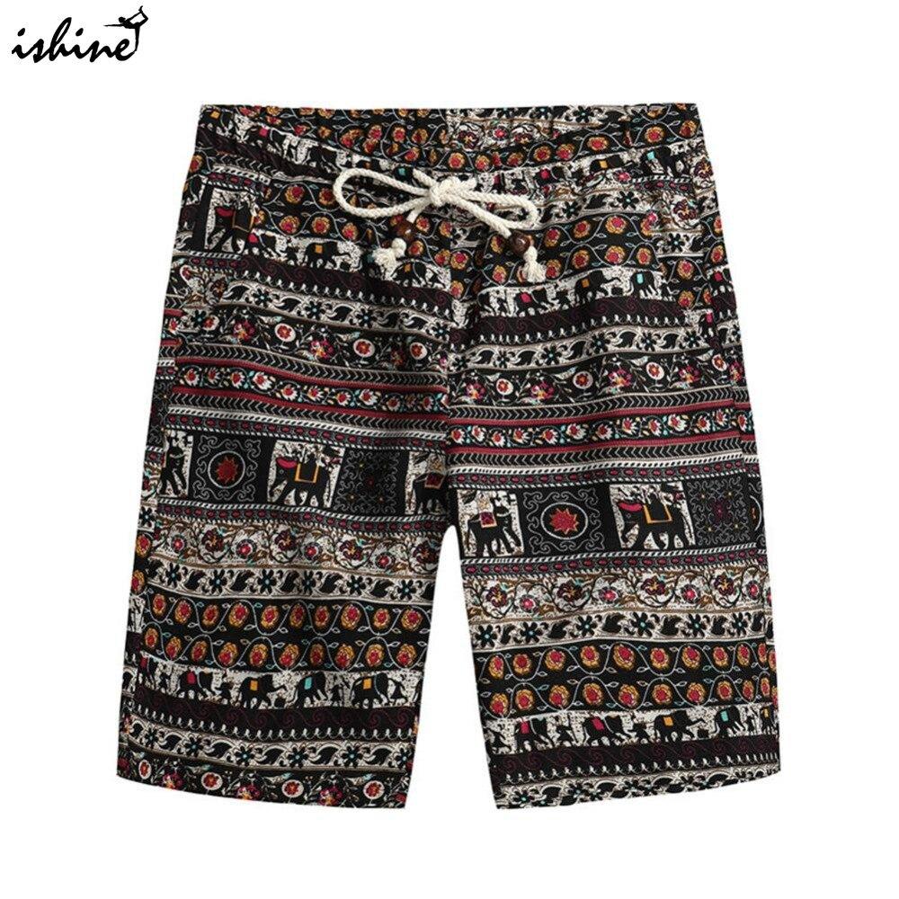 2018 Men's Summer Hawaiian Style Board Shorts Cotton Swim Trunks Summer Print Beach Shorts Sportswear