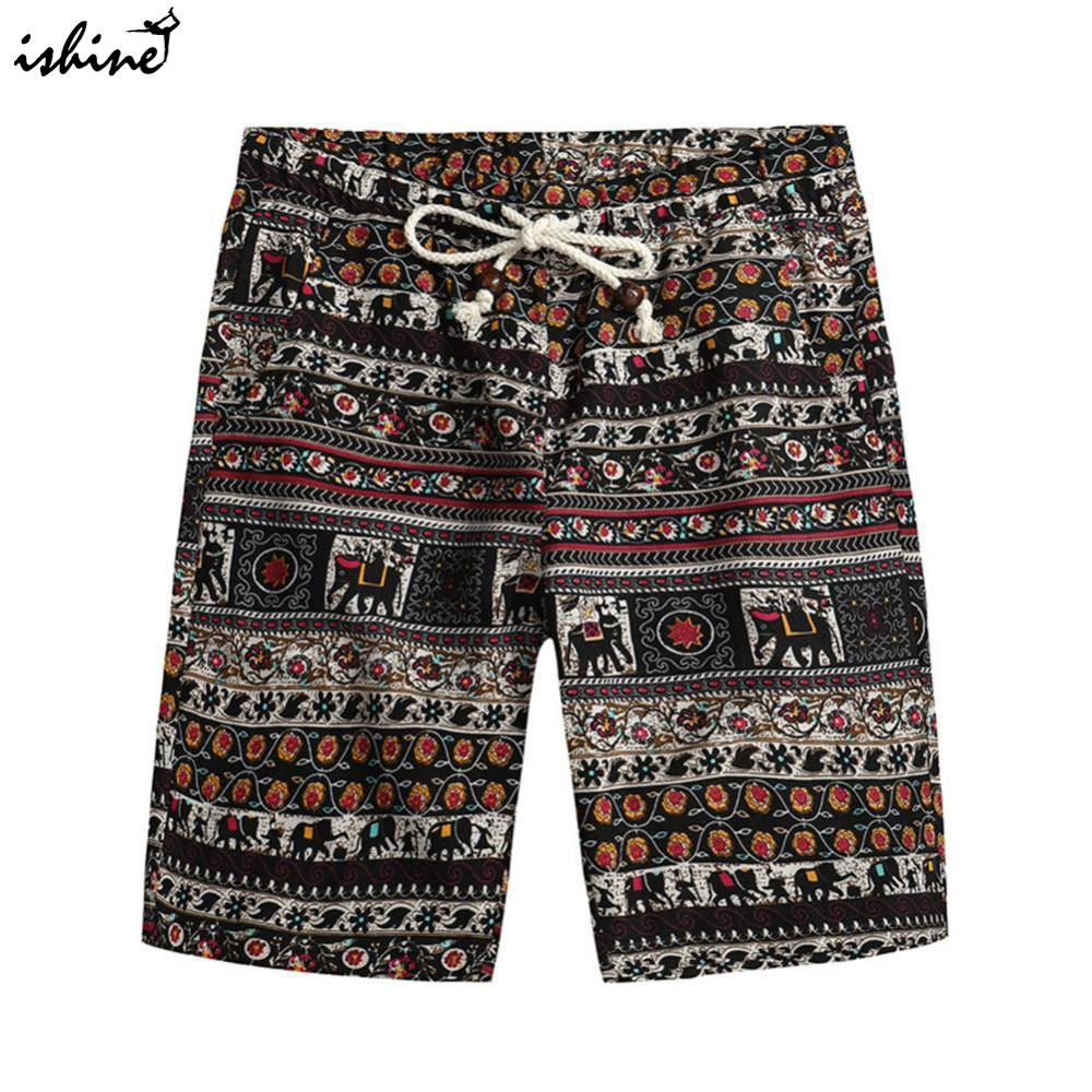 2018 Men's Summer Hawaiian Style   Board     Shorts   Cotton Swim Trunks Summer Print Beach   Shorts   Sportswear