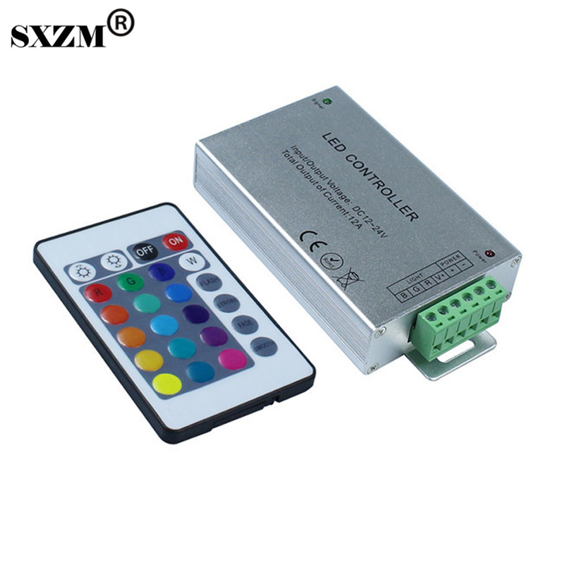 SXZM RGB led controller DC12-24V 12A with 24K IR wireless remote led control for 3528 5050 5730 led flexible strip цена