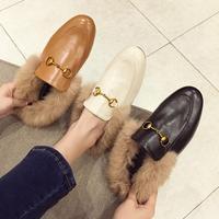 Free shipping fashion women black tan fur inside mid heeled pumps shoes mule Slipper