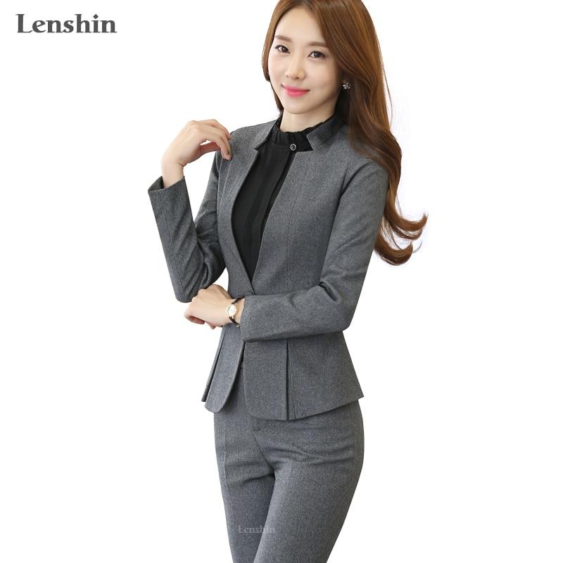 2 piece חליפות מכנסיים אפור עיצובים אחידים פורמליות גבירותיי משרד OL עסקים אלגנטיים לנשים מעיל עם מכנסיים מגדירה בגדי עבודה