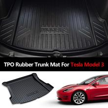 Rubber trunk mat For Tesla Model 3 2017 2018 2019 accessories Black Car Trunk Floor Mats Cargo Liner Rear Tray