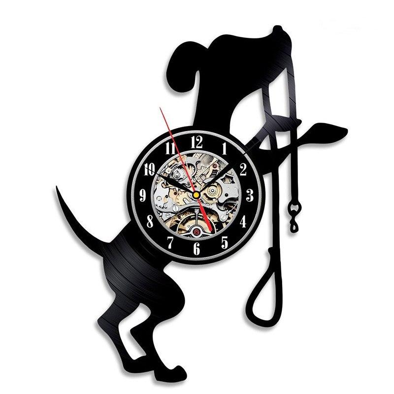 Cute Vinyl Black Dog Cd Record Clock Creative Fashion Kids