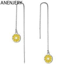 ANENJERY 925 ayar gümüş basit taze sarı limon meyve küpe kadınlar kız hediye için uzun kulak zinciri S-E853