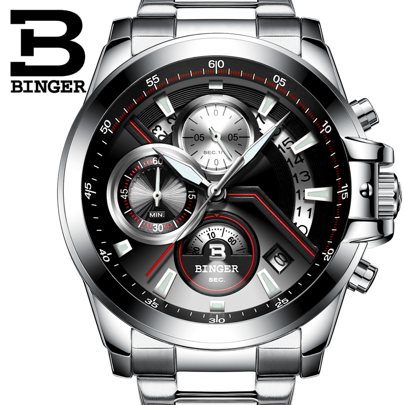 2018 Men Watches Luxury Top Brand BINGER Big Dial Designer Chronograph Water Resistant stainless quartz Wristwatches B-9016-3 weide high quality watch men luxury brand big dial 3atm water resistant stainless steel back lcd wristwatches with alarm items