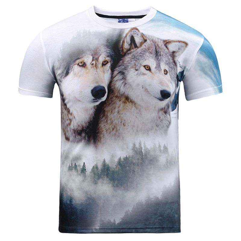 3d t-shirt print forest double snow wolf summer tees shirt 2018 New Fashion Men/women tees tops short sleeves free shipping