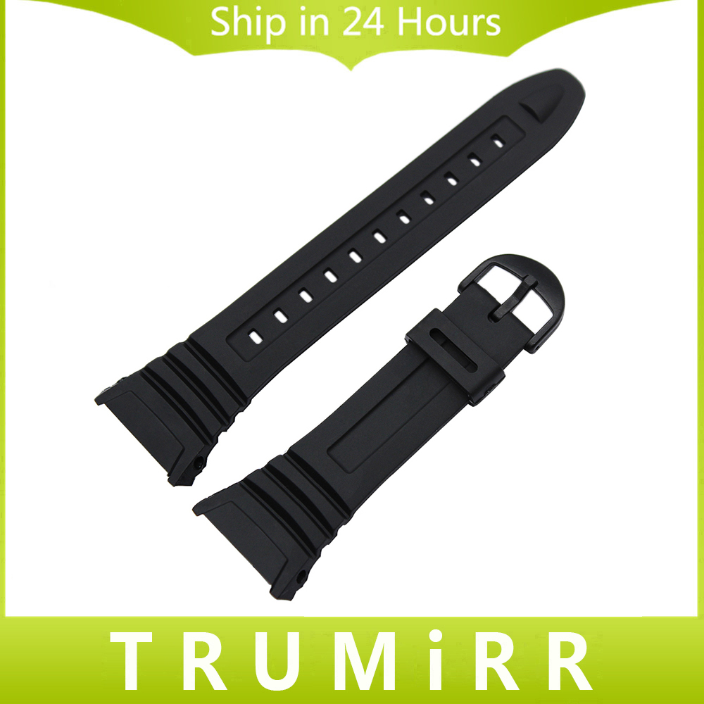 Silicone Rubber Watchband for W-96H W96H Men Women Replacement Watch Band Black Pin Buck ...