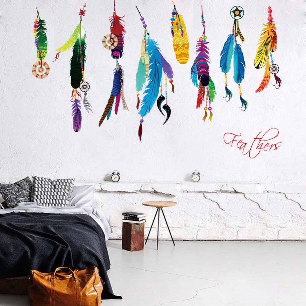 online get cheap feather patterns wall stickers aliexpress com indian style colorful feather painting style wallpaper creatative wall stickers fashion wall poster bedroom beautiful home