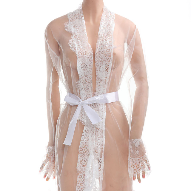 Newest Fashion Women Sexy Lace Robe Dress Breathable Lace G-string Dress Bathrobes Pajamas Sleepwear 3