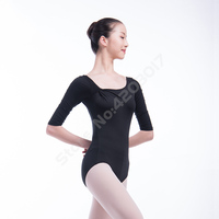 Adult Half Sleeve Ballet Gymnastics Leotard For Women Black Performance Dance Costumes Ballerina Training Tights Girls L40L0023