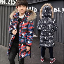 Boys Winter Jacket 2017 The Stars Fur Collars Teenagers Down Jacket Big Size Long Hooded Boys Parka New Year Children Outerwear