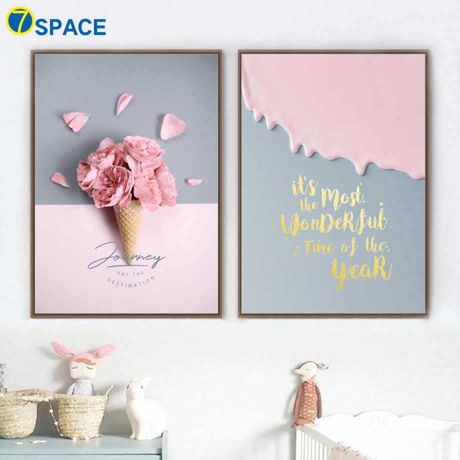 Pink Flower Ice Cream Quotes Canvas Painting Nordic Posters And Prints Wall Art Canvas Prints Wall Pictures Baby Girl Room Decor