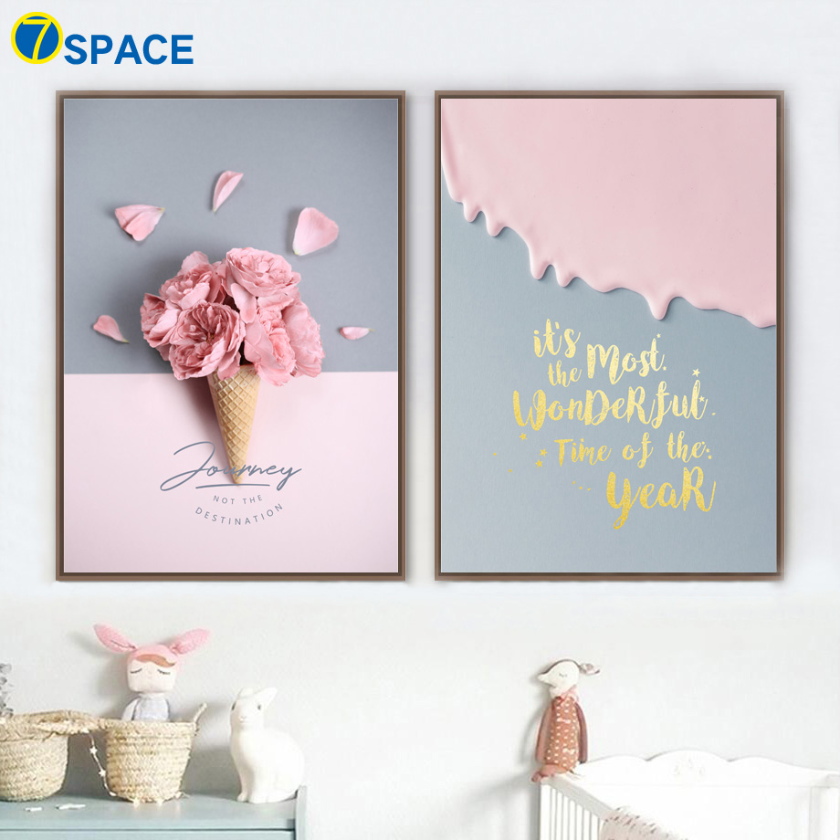 Pink Flower Ice Cream Quotes Canvas Painting Nordic Posters And