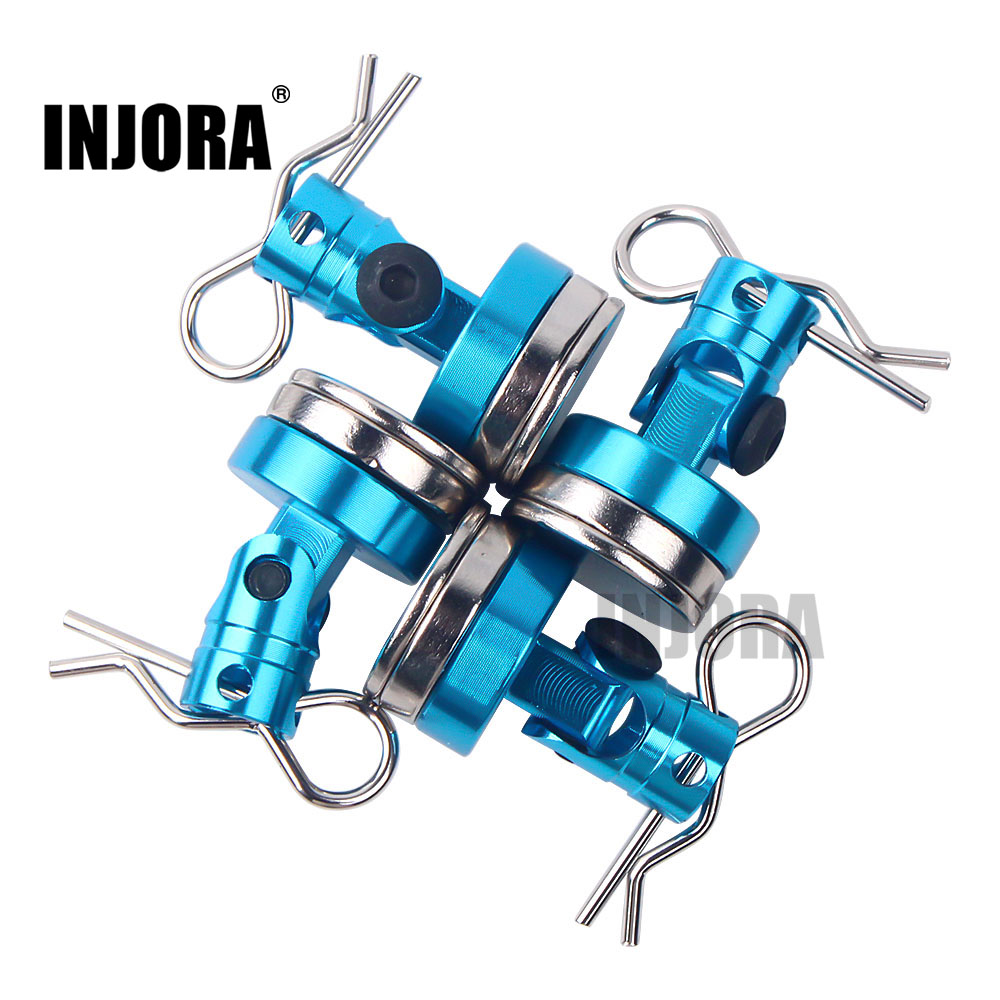 INJORA 4PCS Metal Magnetic Stealth Invisible Body Post Mount With R Clips Pin For 1:10 RC Car Axial SCX10 HSP Tamiya Redcat