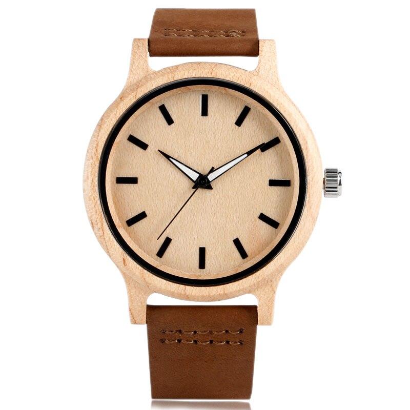 Sencilla mujer creativa reloj de madera de cuero genuino correa de - Relojes para mujeres