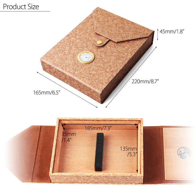 YKPuii Leather Wood Portable Cigar Case Home Travel Outdoor