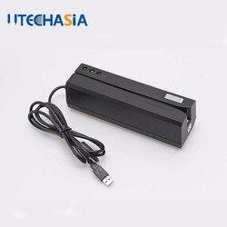 Lector de tarjetas magnéticas MSRE206 codificador de escritor de banda magnética deslizar interfaz USB negro VS 206 605 606 enviar desde UK US CN Stock