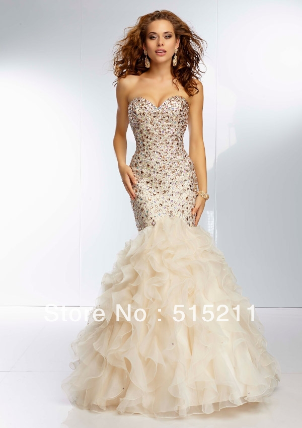 Gorgeous Beaded Sweetheart Ruffles Corset Mermaid Prom Dresses ...
