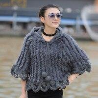 Ladies Natural Knitting Rabbit Fur Shawls With Hoody Female Poncho Women Fur Pullover Batwing Wraps VK1003