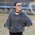 Senhoras Natural Knitting Poncho Mulheres Fur Xales de Pele De Coelho Com Capuz Feminino Pullover Batwing Wraps VK1003