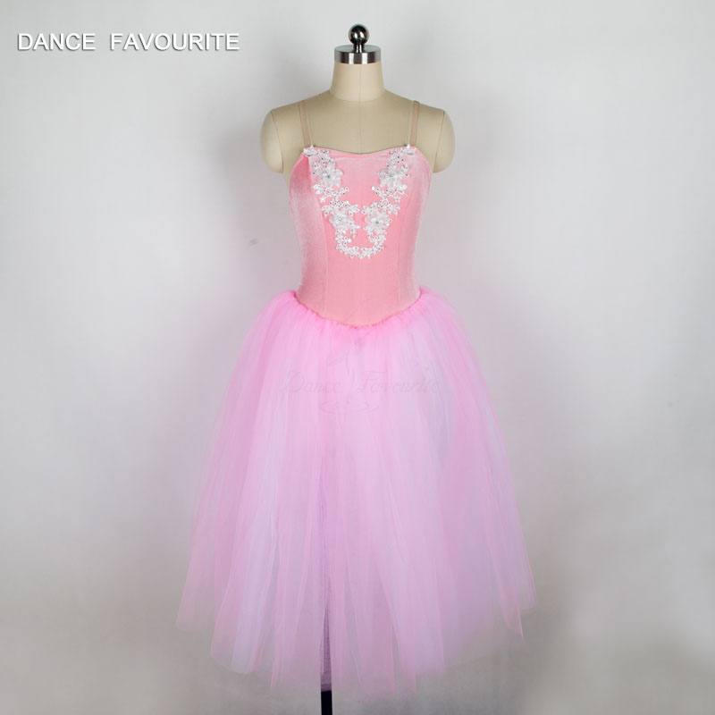 Pink Stretch Velvet Bodice Long Ballet Tutu Girl & Women Stage Performance Ballet Costume Ballerina Dance Tutu Dancewear