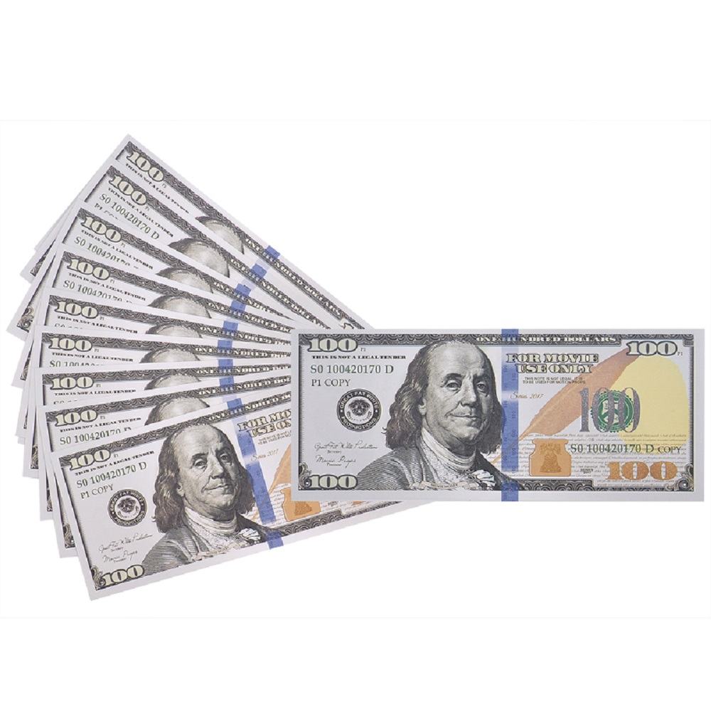 US $10 0 23% OFF|Fake Money 100 Pack Copy $100 One Hundred Dollar Bills,  Realistic Play Money That Looks Real, Double Sided Pretend Play Prop-in  Gold